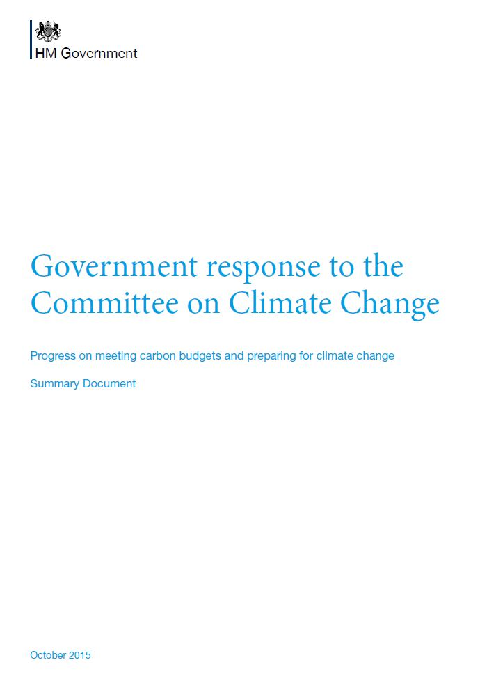 Cover of the government's response to the CCC's annual progress report 2015