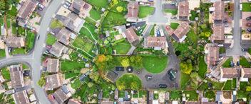 Aerial view of UK housing